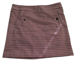 Ann Taylor A-line Houndstooth Wool Plaid Skirt Red cream black