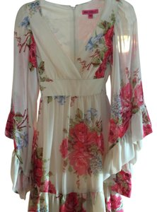 Betsey Johnson short dress ivory- floral on Tradesy