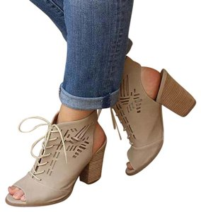 Restricted Lace Up Peep Toe Beige nude Boots