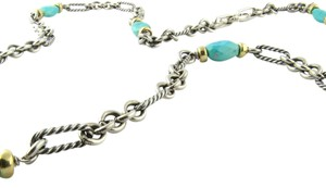 David Yurman David Yurman Sterling Silver 18K Yellow Gold Turquoise Figaro Necklace