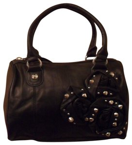Betsey Johnson Petal To The Metal Leather Satchel in Black