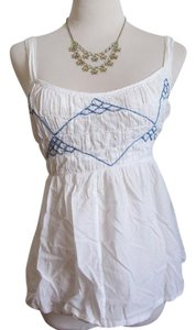 Anthropologie Babydoll Empire Waist Top White, Blue