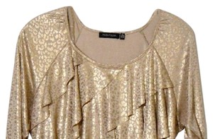 Notations Large Animal Ruffle Top Goldpw