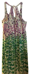 Anthropologie short dress Ivory with purple/green Floral Midi Fun on Tradesy