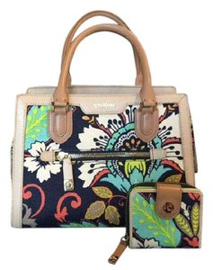 Spartina 449 3 Compartment Zip Close Linen Leather Includes Wallet Satchel in Amelia