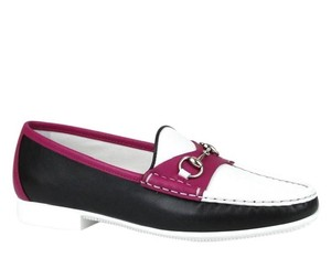 Gucci Womens Rafer Leather Black White Magenta 1071 Flats