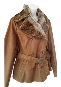 Chico's Faux Fur Faux Suede Brown Jacket
