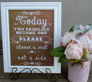 Burlap Look Framed White Rustic Wedding Sign-today Two Families Become One