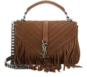 Saint Laurent Monogram Ysl Suede Fringe Embellished Shoulder Bag