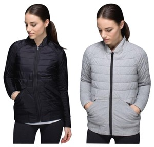 Lululemon black nylon/gray flannel soft Jacket