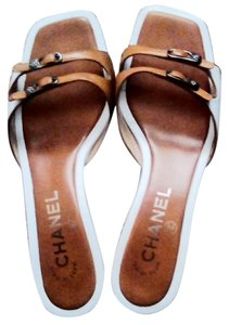 Chanel White and Tan Mules