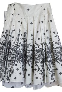 Adrianna Papell Floral Polyester Acetate Lining Skirt Black & Ivory