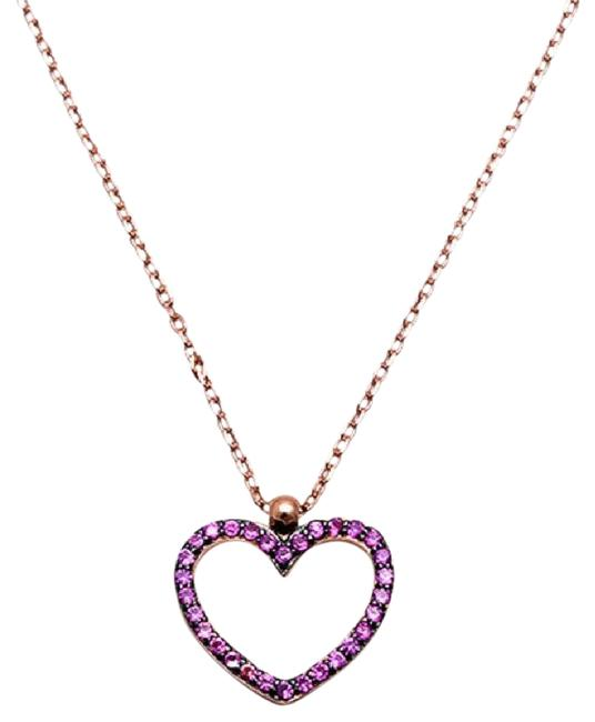 9.2.5 Rose Gold Silver Ruby Heart Necklace 9.2.5 Rose Gold Silver Ruby Heart Necklace Image 1