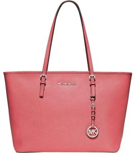 MICHAEL Michael Kors Jet Set Saffiano Leather Zip Top Travel Tote Satchel in Coral