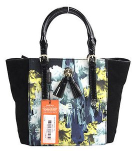 Karen Millen Black Blue Floral Colorblock Patent Leather Suede Tote in Multi-Color