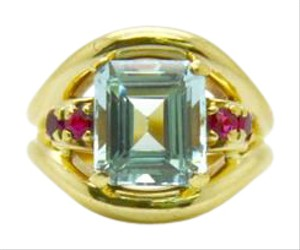 Tiffany & Co. Tiffany & Co. Vintage Ruby and Aquamarine 14K Yellow Gold Ring