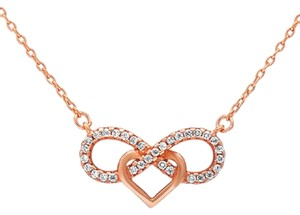 9.2.5 Gorgeous rose gold silver white sapphire heart love knot necklace