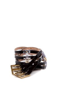 Dolce&Gabbana Black patent multi-strap belt with clear pvc accents