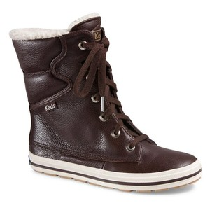 Keds Leather Fleece Lined Lace-up Java Brown Boots