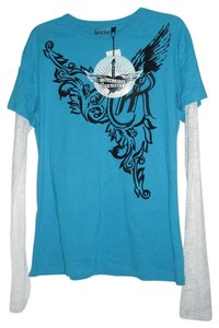 Rock and Roll Cowgirl Burnout Juniors Embellished T Shirt Turquoise & White