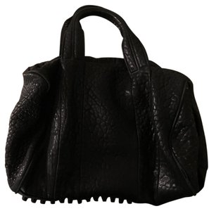 Alexander Wang Gold Stud Rocco Duffle Leather Tote in Black leather