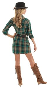 Cowgirl Tuff short dress Plaid Turquoise Brown Cowgirl Country on Tradesy