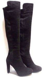 Stuart Weitzman 5050 Over The Knee Suede And Textile Black Suede Boots