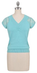 Dress Barn Lace Stretchy Turquoise V-neck Career Top Teal