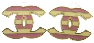 Chanel Chanel Pink/Off-white Logo Earrings PIERCED