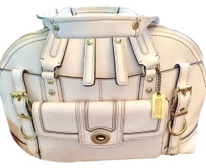 Coach Signature Hang Tag Satin Cover Hard To Find Satchel in White