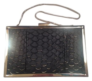Inge Christopher Minaudiere Tilapia Black, Gold Clutch
