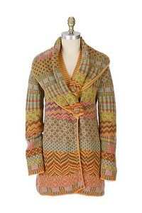 IVKO Anthropologie Cardigan Small Yellow, blue, pink, green, orange Jacket