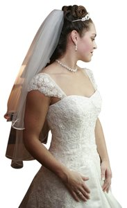 White Medium Mid-length with Blusher Bridal Veil