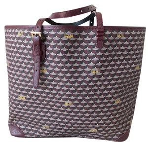 Faurle Le Page Monogram Canvas Tote in Burgundy