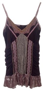 Hazel V-neck Camisole Lace Velvet Bohemian Top Brown/Pink