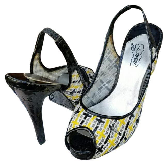Oh Deer! Black White & Yellow Twiggy Pumps Size US 8 Regular (M, B) Oh Deer! Black White & Yellow Twiggy Pumps Size US 8 Regular (M, B) Image 1