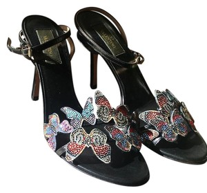 Valentino black and multi-colored sparkly butterflies across the toes. Formal
