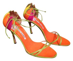 Manolo Blahnik Colored Orange Ankle Strap multi Sandals
