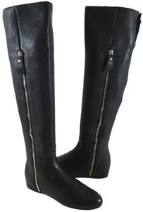 Stuart Weitzman Over The Knee Grain Leather Wedge Partial Side Zip Made In Spain BLADEE Black Boots