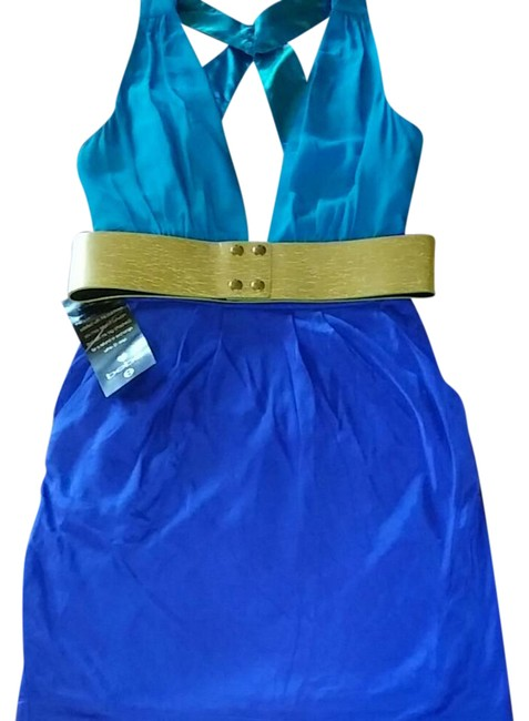 Item - Royal Blue Bottom Turquoise Plunge Top with Gold Belt. One Of Belt Inserts Is Loose At One End. Pockets. Short Night Out Dress Size 6 (S)