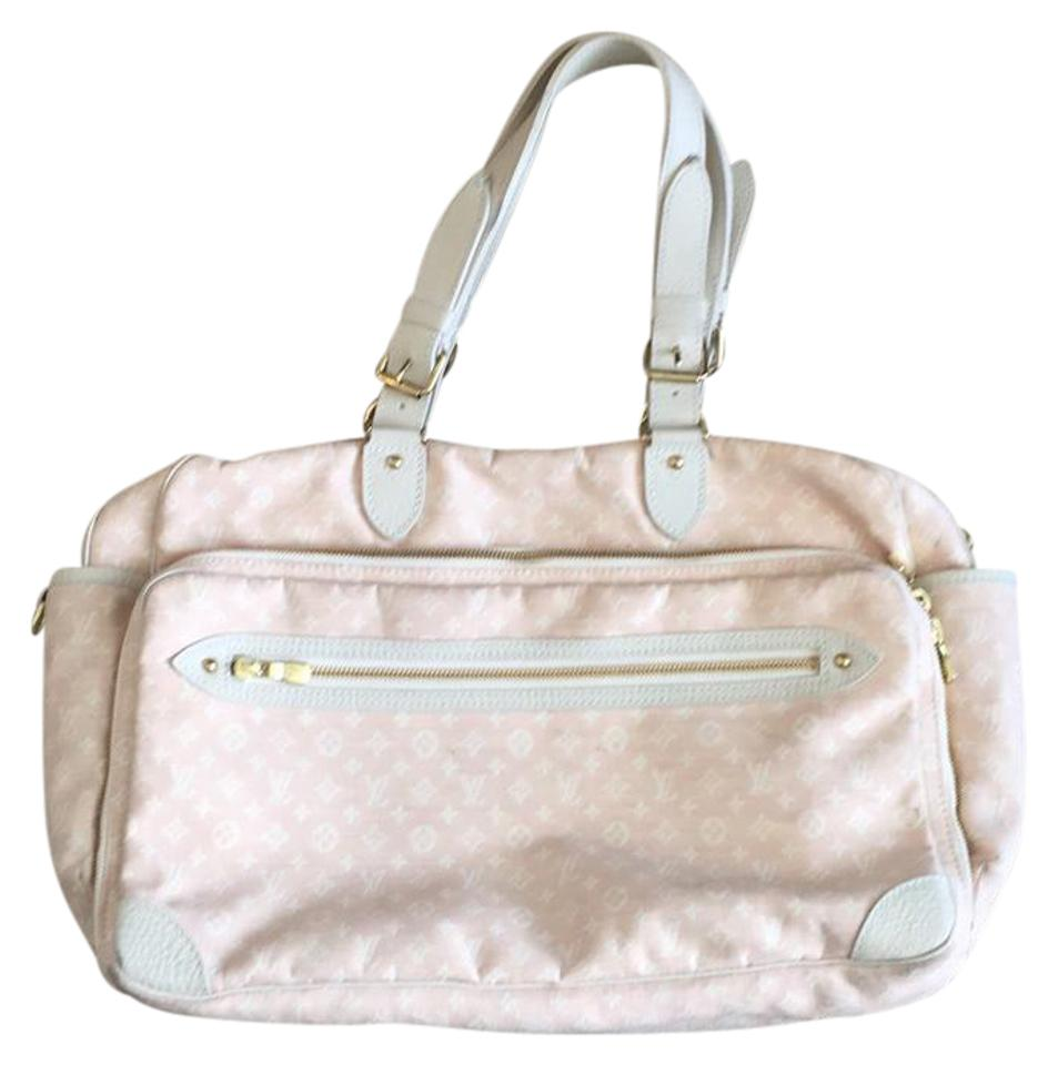 d353819eeb87 Louis Vuitton Pink and White Canvas Leather. Diaper Bag - Tradesy
