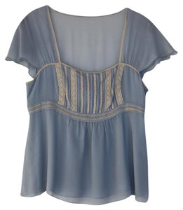 Cynthia Steffe Lace Silk Empire Waist Top Blue & Cream