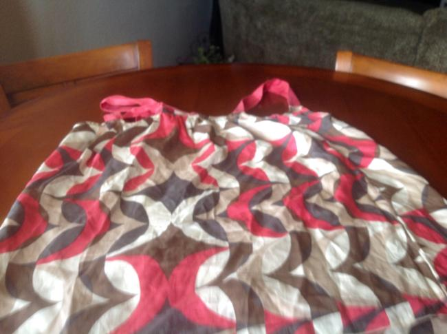 Banana Republic Summer Top Coral and brown and beige abtract design
