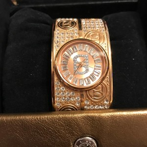 Bebe Rose Gold With Crystal Accents Bangle Bracelet Watch-EUC Bebe