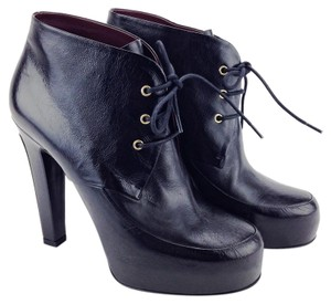 Chanel Leather Lace Up Lacets Platform Round Toe Black Boots
