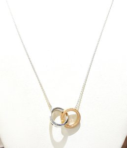 Tiffany & Co. Tiffany & Co 18K Gold & Sterling Silver Interlocking Rings Necklace