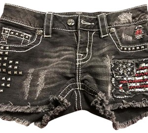 Miss Me American Flag Cut Off Shorts black with red fabric, crystal and metal studs.