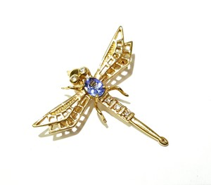 DeWitt's Vintage 14K Gold Dragonfly Pendant-Pin With Diamonds