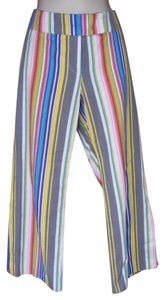 Trina Turk Pinstripe Mod Wide Band Colorful Pants