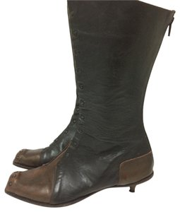 CYDWOQ Handmade Vintage Studded Burnished Leather Italian Leather burnished brown Boots